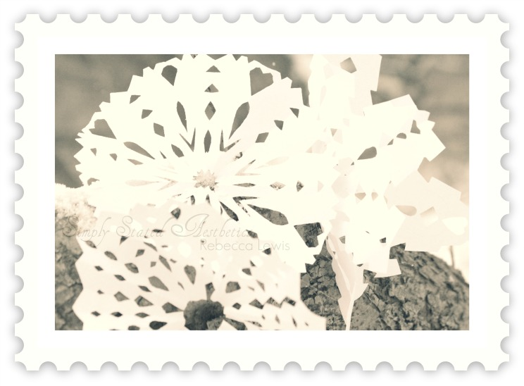 Postage stamp snowflakes signed