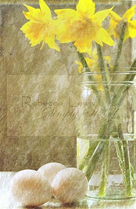 2011 daffodils in jar with textures signed - Copy